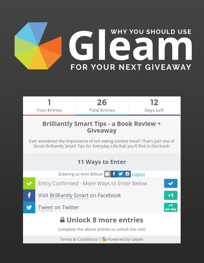 giveaway gleam why you should use gleam for your next giveaway kimi who 1089